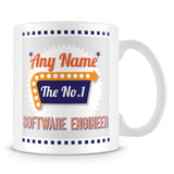 Software Engineer Personalised Mug - No.1 Retro Gift - Orange