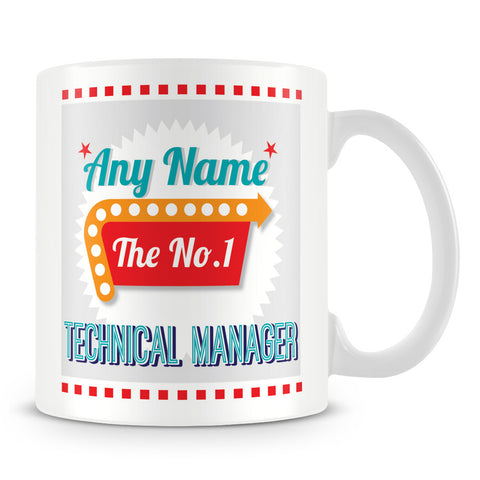 Technical Manager Personalised Mug - No.1 Retro Gift - Green
