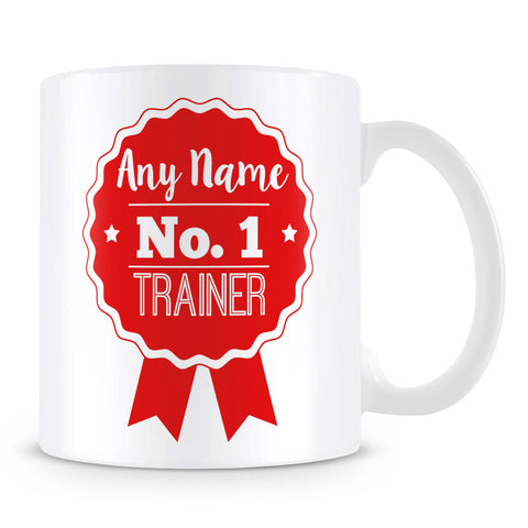 Trainer Mug - Personalised Gift - Rosette Design - Red