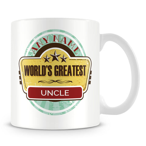 Worlds Greatest Uncle Personalised Mug