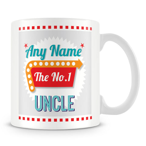 Uncle Personalised Mug - No.1 Retro Gift - Green
