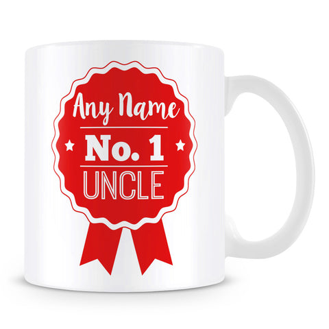 Uncle Mug - Personalised Gift - Rosette Design - Red