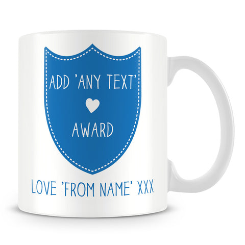 Award Shield Personalised Mug – Blue