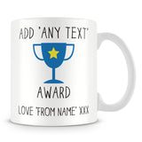 Award Trophy Personalised Mug – Blue