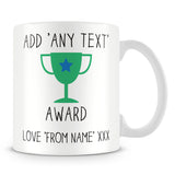 Award Trophy Personalised Mug – Green
