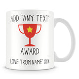 Award Trophy Personalised Mug – Red