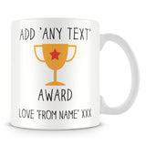 Award Trophy Personalised Mug – Yellow