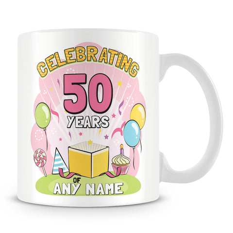 Birthday Celebration Mug with Age and Name Pink