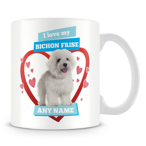 I Love My Bichon Frise Dog Personalised Mug - Blue