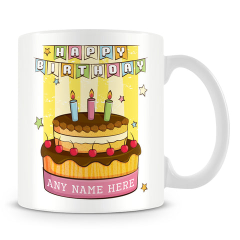 Birthday Cake Personalised Mug with Name