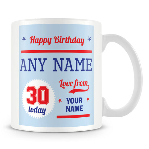 Personalised Birthday Mug With Age and Names – Blue