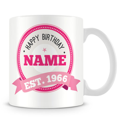 Name and Year Personalised Birthday Mug – Pink