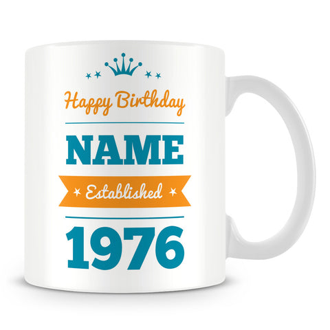 Name and Established Year Personalised Birthday Mug