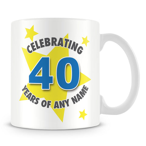 Star Personalised Birthday Mug – Blue