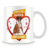 I Love My Boxer Dog Personalised Mug - Orange