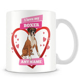 I Love My Boxer Dog Personalised Mug - Pink