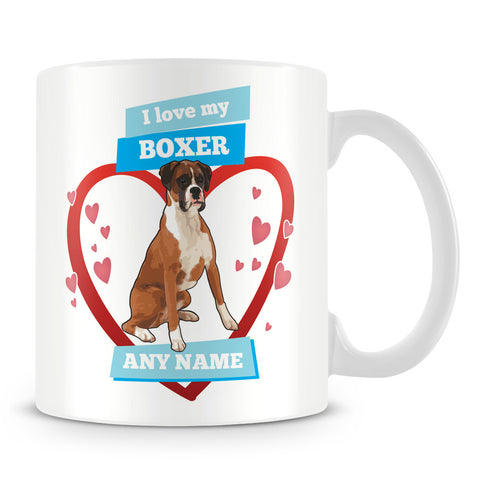 I Love My Boxer Dog Personalised Mug - Blue