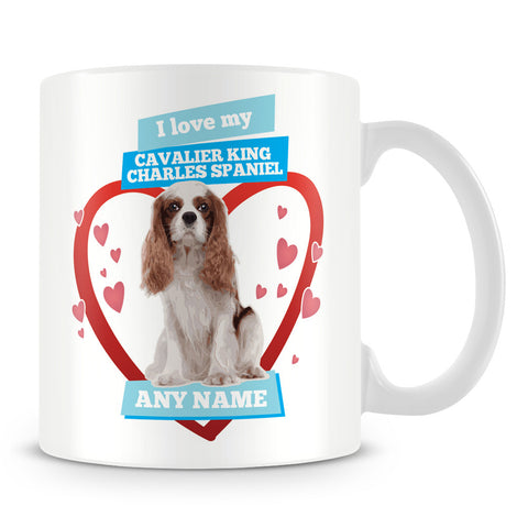 I Love My Cavalier King Charles Spaniel Dog Personalised Mug - Blue