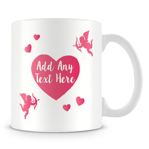 Cherubs Personalised Mug with love hearts – Pink 1