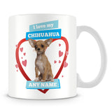 I Love My Chihuahua Dog Personalised Mug - Blue