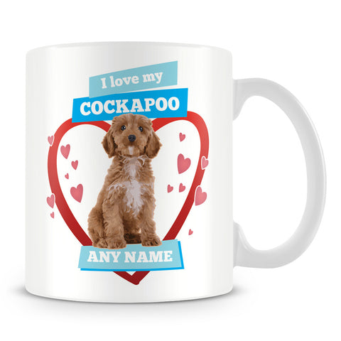 I Love My Cockapoo Dog Personalised Mug - Blue