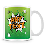 Comic Style Personalised Mug – Green