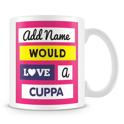 Would Love a Cuppa - Personalised Mug – Pink