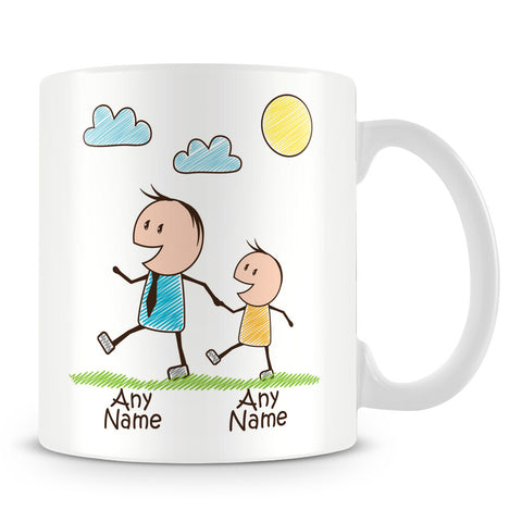 Family Personalised Mug – Dad with 1 Kid