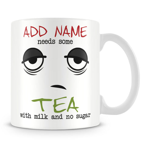 Personalised Drinks Mug with Name and Sleepy Face Design