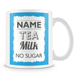 Personalised Mug with Name and Drink – Blue