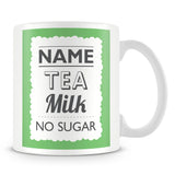 Personalised Mug with Name and Drink – Green