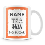 Personalised Mug with Name and Drink – Orange