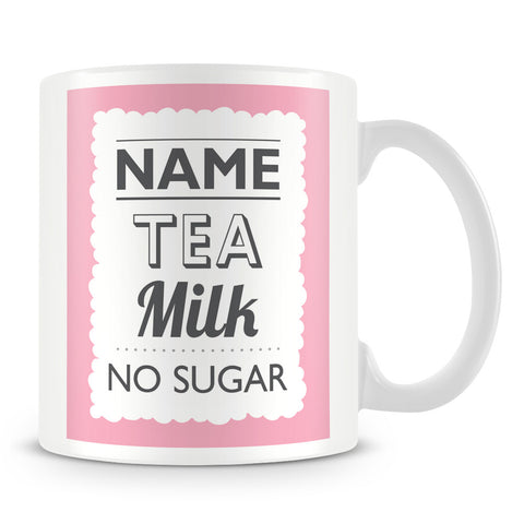 Personalised Mug with Name and Drink – Pink