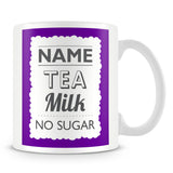 Personalised Mug with Name and Drink – Purple