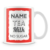 Personalised Mug with Name and Drink – Red