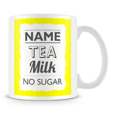 Personalised Mug with Name and Drink – Yellow