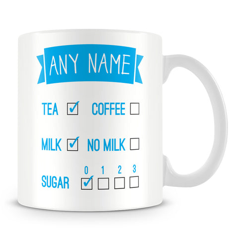 Personalised Mug with Drink Tick Boxes