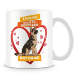 I Love My German Shepherd Dog Personalised Mug - Orange