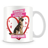 I Love My German Shepherd Dog Personalised Mug - Pink