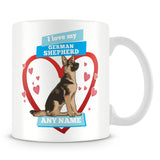 I Love My German Shepherd Dog Personalised Mug - Blue