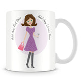Girly Mug With Personalised Message – Brunette 2