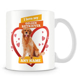 I Love My Golden Retriever Dog Personalised Mug - Orange