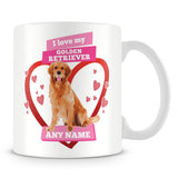 I Love My Golden Retriever Dog Personalised Mug - Pink