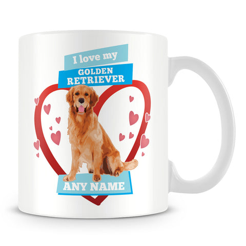 I Love My Golden Retriever Dog Personalised Mug - Blue