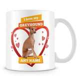I Love My Greyhound Dog Personalised Mug - Orange