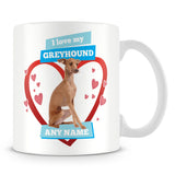 I Love My Greyhound Dog Personalised Mug - Blue