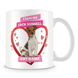 I Love My Jack Russell Dog Personalised Mug - Pink