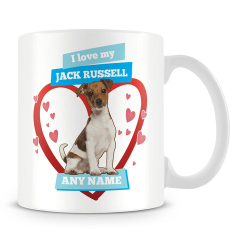 I Love My Jack Russell Dog Personalised Mug - Blue