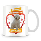 I Love My Labradoodle Dog Personalised Mug - Orange