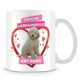 I Love My Labradoodle Dog Personalised Mug - Pink